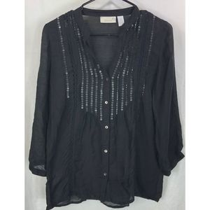 Chico's sequin lace rayon lightweight blouse 5633